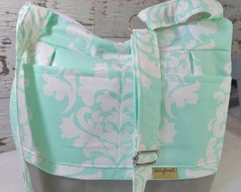 Day bag in Aqua Mint with  Damask print  Waterproof canvas base / grey  Made in USA- Darby Mack Messenger cross body