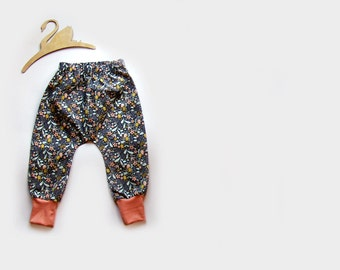Baby Harem pants, trousers in Inky Blooms
