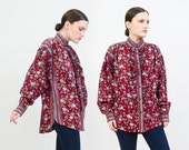 Vintage 80s Burgundy Floral Blouse - Ruffled Button Up Long Sleeve Shirt - Boho Peasant Blouse - Gene Ewing BIS - Medium Large M L