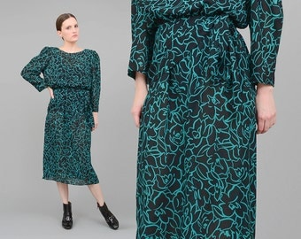 80s Dress Black + Green FLORAL Blouson Dress Tie Waist 1980s Secretary Dress Vintage Long Sleeve Midi Dress Medium M