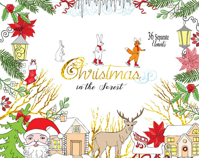 Christmas in the Forest. Christmas , Clip art, poinsettia, mistletoe, squirrel, deer, Santa, Christmas tree, poinsettia, sledge, forest