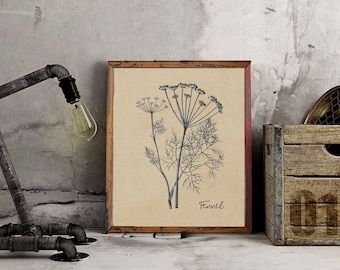 Instant Download Printable Art, Vintage Herbs, Three Background Choices + Dictionary Page, DIY Printable – Vintage Fennel