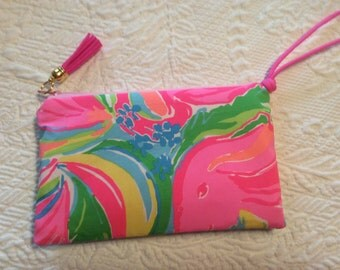 Lilly Multi  Fabric Zipper Wristlet Clutch