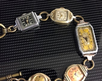 Old Vintage Ladies Art Deco Gold/Silver Mix Watch Watches Face Charm Bracelet Steampunk Altered Art Repurposed Recycled