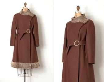 vintage 1960s coat / brown wool persian lamb trim 60s coat / Belted Beauty