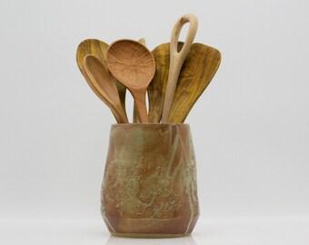 Ceramic utensil holder , rustic utensil holder, farmhouse pottery, ready to ship