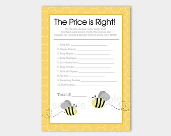 Bumble Bee Gray and Yellow Baby Shower Price is Right Baby Shower Game Card, Printable PDF INSTANT DOWNLOAD bs-157