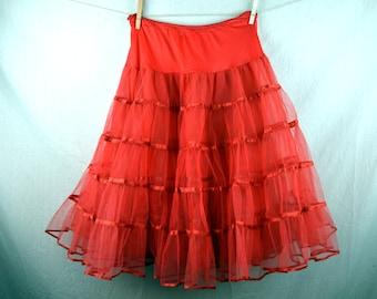 Vintage Red Malco Modes Petticoat Tutu Crinoline