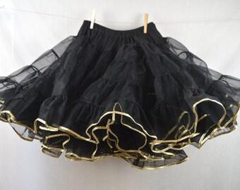 Vintage Black and Gold Trimmed Sam's Square Dancing Petticoat Tutu Crinoline Slip