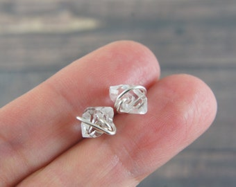 Silver wire wrapped Herkimer diamond stud earrings, Mini Quartz Crystals, Christmas gift, holiday gift, healing