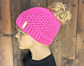 Handmade Crochet Messy Bun / Pony Tail Toque - Hot Pink