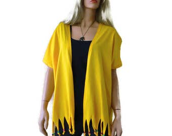 Boho kimono jacket, Bright yellow cotton Jersey fringe kimono-Yellow kimono cardigan with fringes, 2017 summer collection-Introductory price