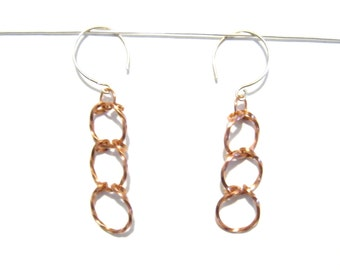 Twisted Circles Trio Dangle Earrings, Copper Wire, Gift for Her Under 20, Christmas Present, Copper Anniversary, Rhythm Collection