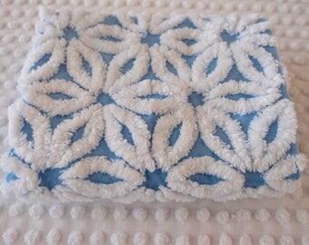 """Vintage Chenille Fabric - Hofmann blue daisy - 18"""" x 24"""" - 400-202"""