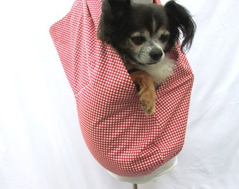 Pet Dog Sling Carrier Red and Cream Polka Dot
