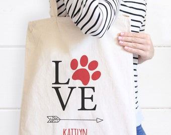 Personalized Dog Love Tote Bag, Pet Tote Bag, Fur Baby Canvas Tote bag, Gifts for Pet lovers, Dog Tote, Love Tote, Pets Tote, Dog Tote