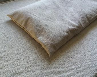 Bench cushion white cream natural seating pad buckwheat hulls firm support meditation floor pillow handmade modern rustic textured fabric