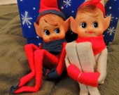 Pixie Elves Set of 2 Knee Huggers Vintage Handmade Ornaments