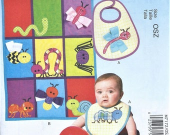 UNCUT McCall's Craft Pattern M7172 - Bib, Quilt and Bug Appliques Size OSZ (One Size Fits All)