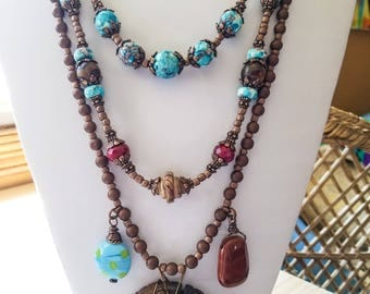 Boho turquoise multi stranded necklace, Southwest Jasper Stone Necklace, Rustic layered gemstone necklace, Statement piece Tribal Necklace