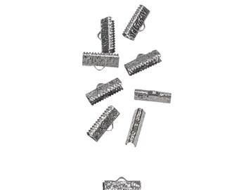 50pcs.  16mm  (5/8 inch)  Gunmetal Ribbon Clamp End Crimps - Artisan Series