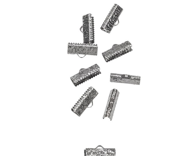50 pieces  16mm  (5/8 inch)  Gunmetal Ribbon Clamp End Crimps - Artisan Series