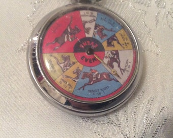 Vintage Pocket Watch Style Horse Race Game.   Gwo