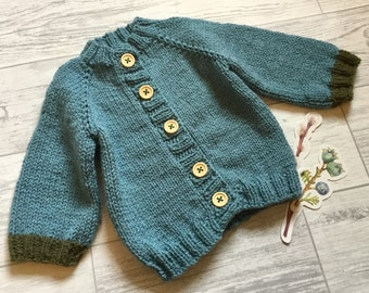 Hand knitted 0-3 3-6 and 6-12 months baby sweater ANY colours