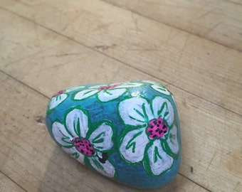 Happy White Flowers Painted Rock