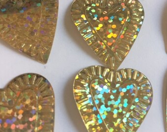 New Sequins - Metallic Gold Hologram Hearts