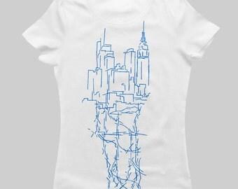 NY CITY VEINS (Manhattan) - Women's T-Shirt - Blue on White
