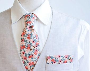 Necktie, Neckties, Mens Necktie, Neck Tie, Floral Neckties, Groomsmen Necktie, Groomsmen Gift, Rifle Paper Co - Rosa In Peach