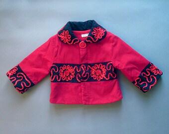 Vintage Red Corduroy Girls Coat Asian Style Jacket Kimono