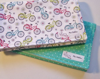 Burp Cloths -Bicycles and Dots- Set of Two
