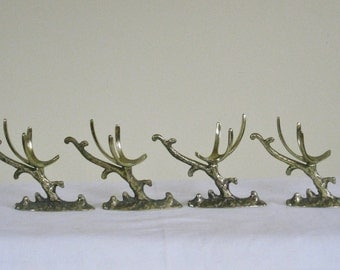 Set of 4 Four Vintage Brass Egg Holder, Individual Table Place setting, Decorative Branch of Tree Design, Table Scape Decor, Korea