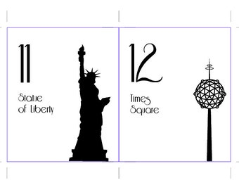 Printable NYC Table Number New York City Wedding Decor Reception Sign Cards Landmark Icons 4x6 5x7 or 8x10