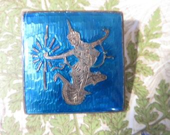 Vintage Siam Sterling Pin, Turquoise Enamel Siam Sterling Pin,Mekala Lightening Goddess