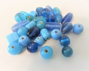 Blue Glass Beads, 30 Glass Beads,  Various Sizes and Shapes