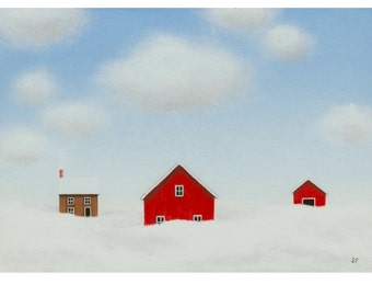 BARN ART Farm PAINTING study 5 x 7 Winter landscape Painting  Fine Art Birthday Gift Modern Barn Painting Folk art old Red Barn painting