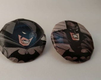 Round Batman Earrings, Simple and dramatic!