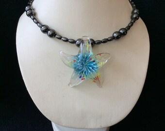 Glass starfish hand-beaded magnetic hematite memory wire choker necklace