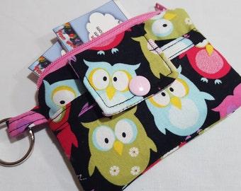 Zipper Wallet Pouch Key Chain Card holder - Sleepy Owl