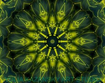 Instant Digital Download Succulent Green Mandala Art. Printable Mandala. DIY Home Decor. Digital Design. Meditation Print