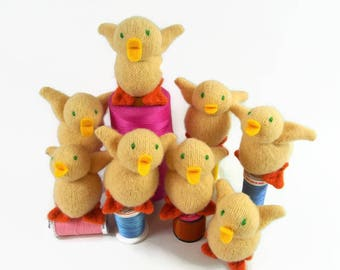 Baby Duck toy, waldorf toy, eco friendly, natural, childrens toy,wool toy