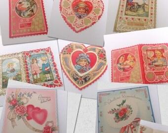 Lot of 8 vintage folded valentine Valentine's Day love cards. Red white pink. Ephemera. Heart hearts.