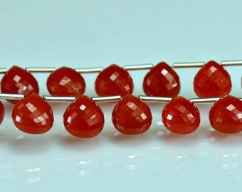 Carnelian Briolettes AAA Micro Faceted Carnelian Heart Briolette Beads 8-9mm