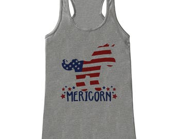 Women's 4th of July Shirt - Mericorn - Grey Tank Top - Funny Unicorn Fourth of July Shirt - American Pride Tank - Patriotic Independence Day