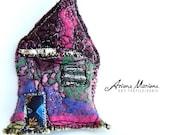 Multicolored Mini Art House Pin  - Happy Miniature House  - Original Felt Art Embroidery Slow Designed France, Paris