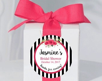 12 Personalized Bridal Shower Boxes - Bridal Shower Favors - Custom Shower Favors - Party Favors - Striped Stickers - 2x2 Boxes