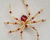 Set of Six Swarovski Crystal Siam Red  Glass Beaded  Christmas Spider Ornament German Legend of Tinsel